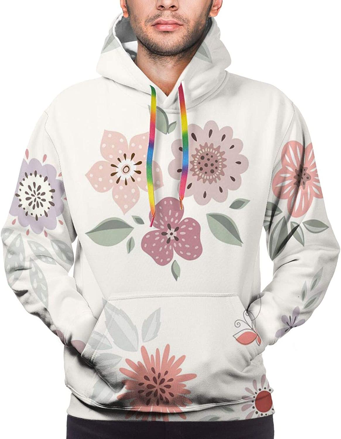 Men's Hoodies Sweatshirts,Charming and Continuous Flowers Leaves and Butterflies in Pastel Tones