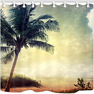 JAWO トロピカルサマーシャワーカーテン グランジ プラムツリー オンシーサイド サンセット バスカーテン ポリエステル生地 フック付きバスルームシャワーカーテン 69x70インチ バスロンアクセサリー