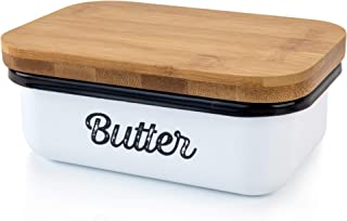 Granrosi Farmhouse Butter Dish - Beautiful Butter Container With Wooden Lid Keeps Your Butter Soft and Enhances Your Kitch...