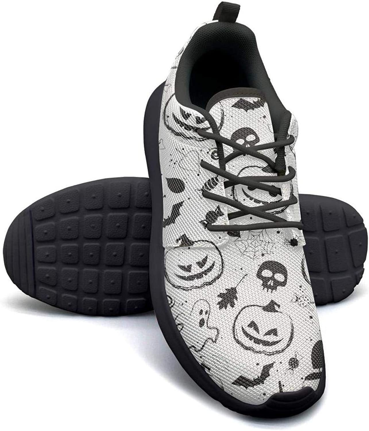 Gjsonmv Halloween Pumpkin Black White mesh Lightweight shoes for Women Casual Sports Driving Sneakers shoes