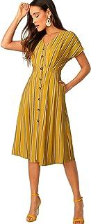 Romwe Women's Elegant Striped A-line Shirt Dress with Pockets