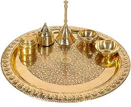 Guruji Divinity Blessings Decor Handmade Brass Puja Thali with Flower Embossed Design, Brass Pooja Plate, Religious Spirit...