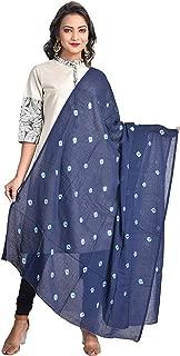 Indian Dresses Store Color Nirvana Women's 100% Pure Cotton Solid Plain Simple Bandhani Dupatta Navy Blue