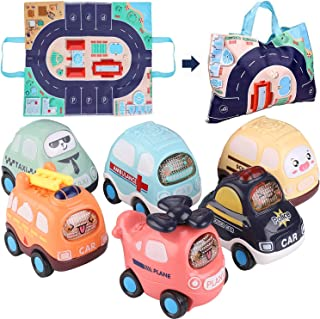Toy Pull Back Cars, Baby Toy Push Car Toddlers Toy Set 6 Cars with Play Mat Storage Bag, 1 Year Old Toys Boys Girls Early ...