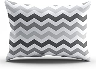 ONGING Decorative Pillowcases White Shades of Gray Chevron Customizable Cushion Rectangle King Size 20x36 inch Throw Pillow Cover Case Hidden Zipper One Side Design Printed