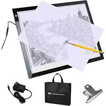 Voilamart A3 LED Light Box Tracer, 12V Ultra Bright 3-Level Dimmable Brightness, Ultra-Thin LED Tracing Art Craft Light Pad Light Board with Carry Case, for Artists Drawing Tattoo Sketching Animation