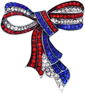cocojewelry 4th of July American Flag Design Bow Ribbon Brooch Pin Independence Day Gift