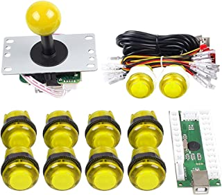 Gamelec Arcade Game Buttons and Joystick Controller Kit for Raspberry Pi and PC Games,1x 5 Pin Joystick and 10x LED Illuminated Push Buttons DIY Kits for Mame,PC and Raspberry Pi 2 3 (Yellow)