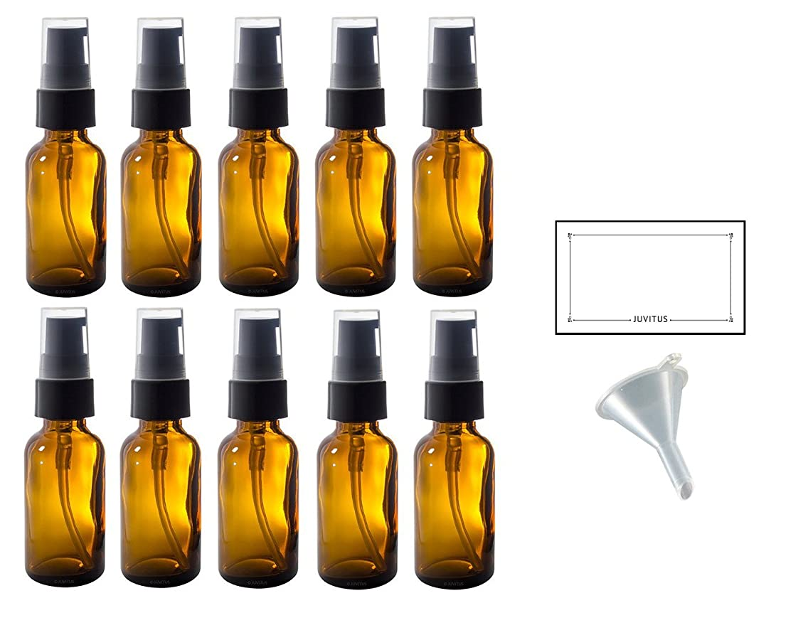 1 oz Amber Glass Boston Round Treatment Pump Bottle (10 pack) + Funnel and Labels for essential oils, aromatherapy, food grade, bpa free