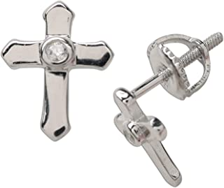 Children's First Communion, Baptism or Christening Sterling Silver Cross Screw back Earrings with CZ