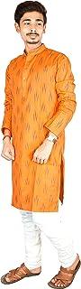 Riyashree Cotton Men's Straight Long Kurta for Men Latest Stylish Traditional Ikat Pattern Design
