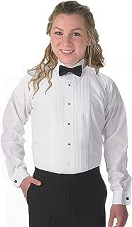 Elaine Karen Premium Women's Tuxedo Long Sleeve Shirt Laydown Collar, with Bonus Black Bow Tie