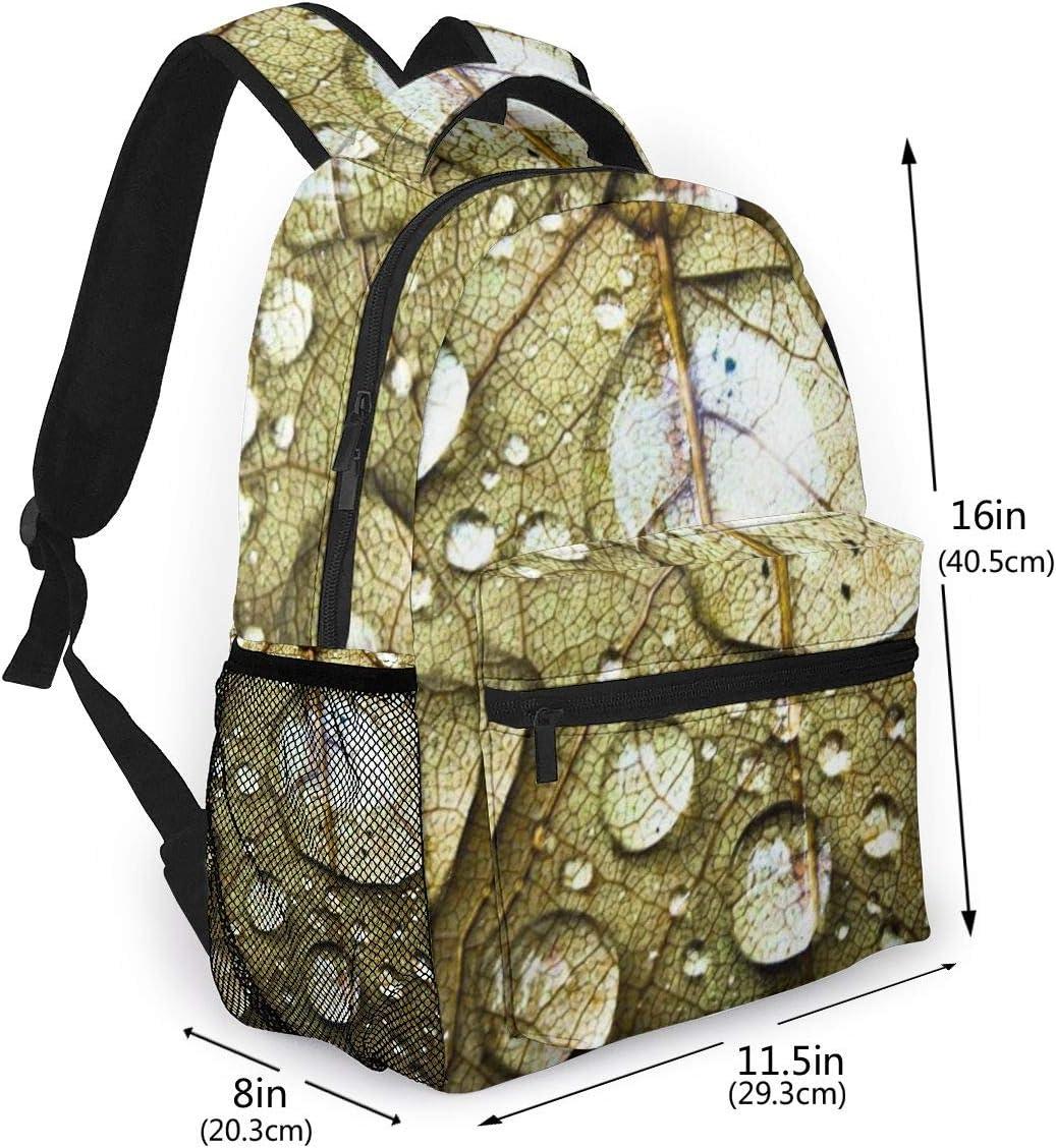 Printed Backpacks Oxford Superbreak Backpack Slim Laptop Schoolbag Leaf with Dewdrop Adult Casual Travel Daypack