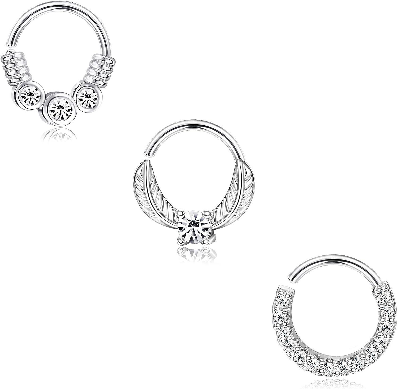 BodyBonita Stainless Steel Nose Rings Hoop for Women Daith Cartilage Hoop Septum Ring Rook Ear Piercing Jewelry