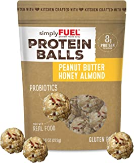 simplyFUEL Peanut Butter Honey Almond Protein Balls | 1 Pack of 12 Balls | Gluten Free | Probiotic + High Protein Whole Food Snack | Certified Organic Ingredients | 8 g Whole Food Protein