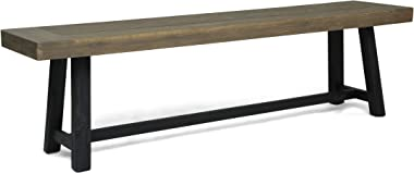 Christopher Knight Home 306037 Toby Outdoor Acacia Wood Bench, Sandblast Gray Finish and Black