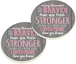 P. Graham Dunn Always Remember You are Pink 3 x 3 Absorbent Ceramic Car Coaster Pack of 2