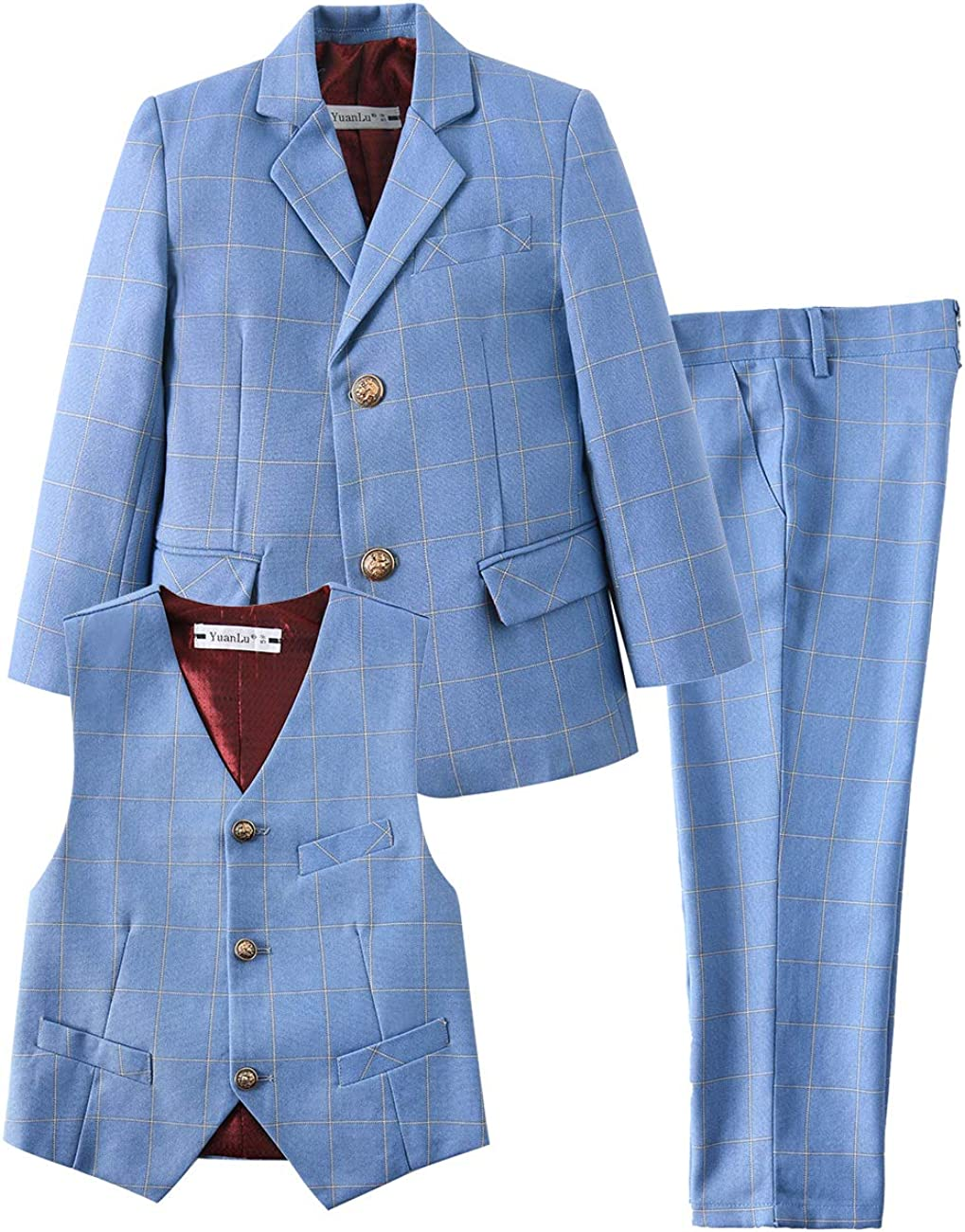 YuanLu 3 信託 Piece Kids Boys' Formal Dress Blazer Vest Pants Sui 出群 and