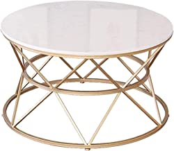 Modern Round Coffee Table with White Marble Top and Gold Geometric Lines Frame Furniture Sofa End Table for Living Room,80CM
