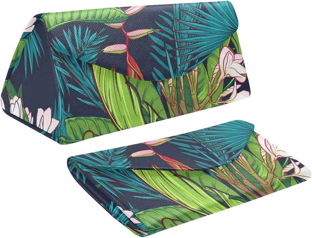 Glasses Case Palm Tree And Banana Leaves Eyeglass Case Leather Magnetic Folding Hard Case Sunglasses Eyewear Protective Case