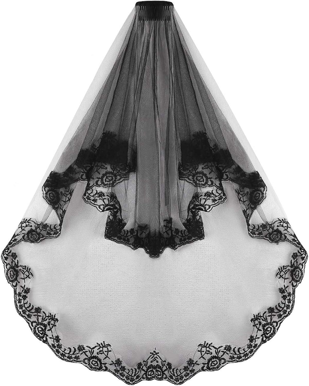 Black Long Veil Bridal Wedding Cathedral Veil Headpiece Halloween Costume