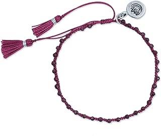 NOVICA Adjustable Length Macrame Garnet Beaded Bracelet with Silver .950 Charm, 6.25