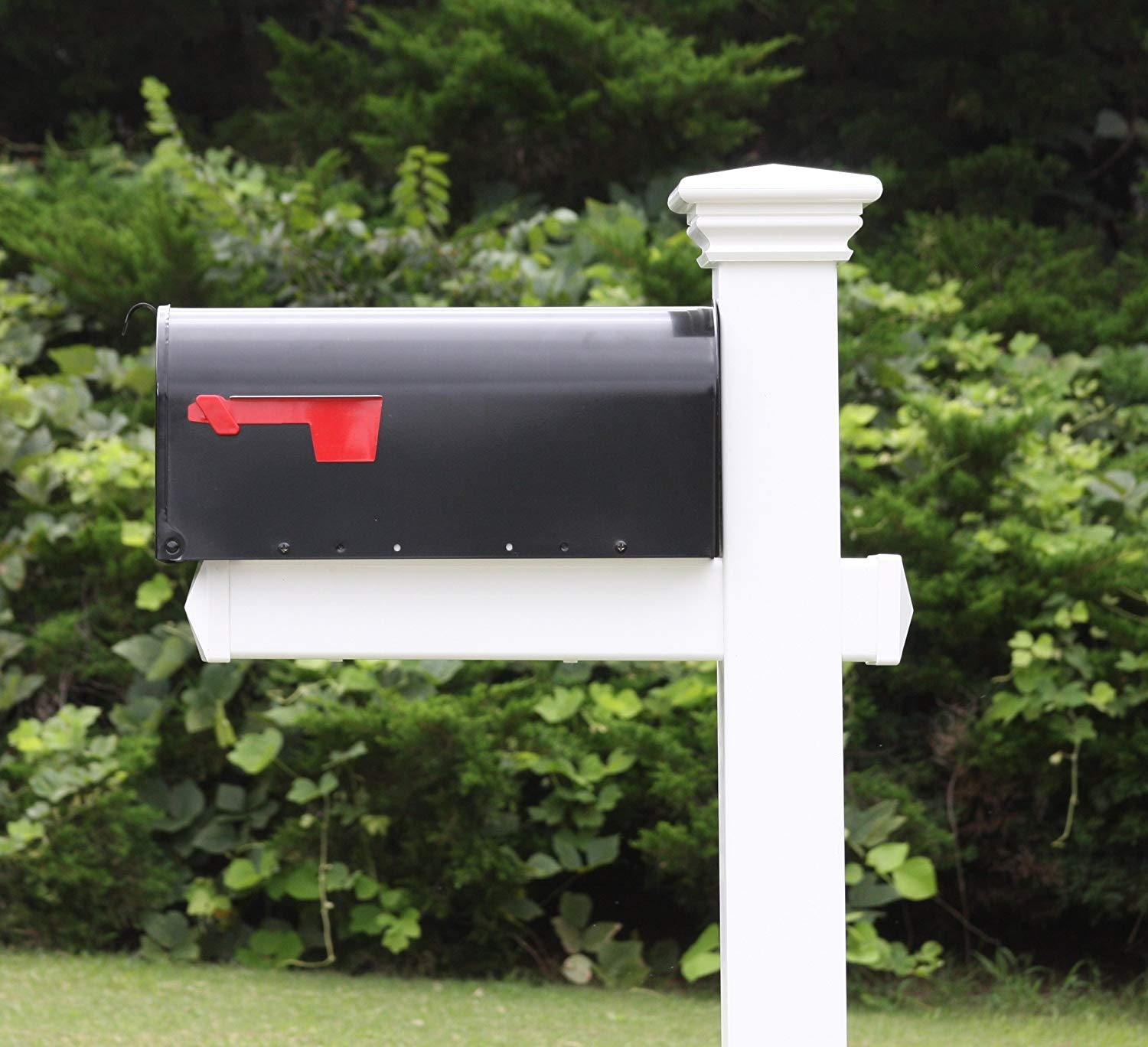 4ever Products The Buchanan Vinyl Pvc Mailbox Post Includes Mailbox Complete Decorative Curbside Mailbox System With Classic Traditional Style Black Mailbox Home Improvement