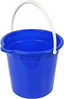 Superio Plastic Round Bucket with Grip Handle, 10 Liter with Spout Cleaning Pail Blue, Home Floor Mopping, Bath, Car Wash ...