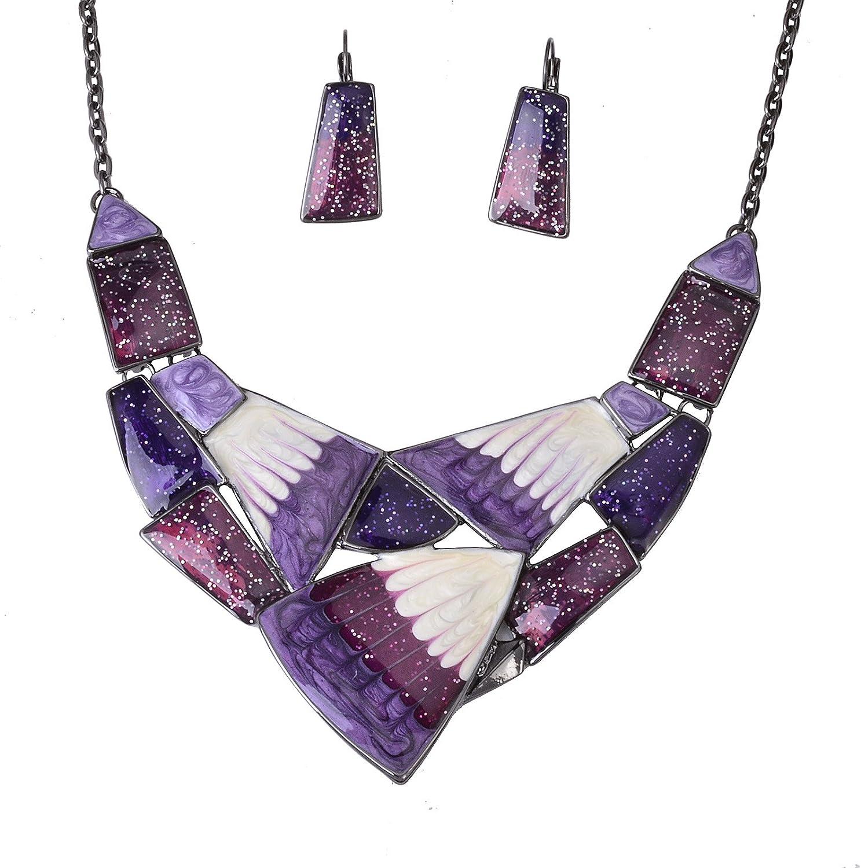 Fenni Irregular Enamel Triangle Shape Collar Bib Statement Necklace Earrings Set Women Bridal Jewelry