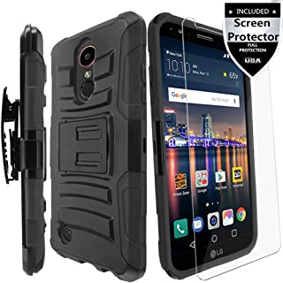 LG Tribute Empire/LG Tribute Dynasty/LG Fortune/LG Phoenix 3/LG Phoenix 4/Zone 4/LG K8S/K8 2017/K8 2018/K8 Plus Case with HD Screen Protector,IDEA LINE Combo Holster Kickstand Belt Clip Cover - Black