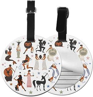 LuggageTagPack Black Pottery Ancient Greek Mythology LuggageTagsForWomenFunny LuggageTags With Adjustable Black Strap For ...