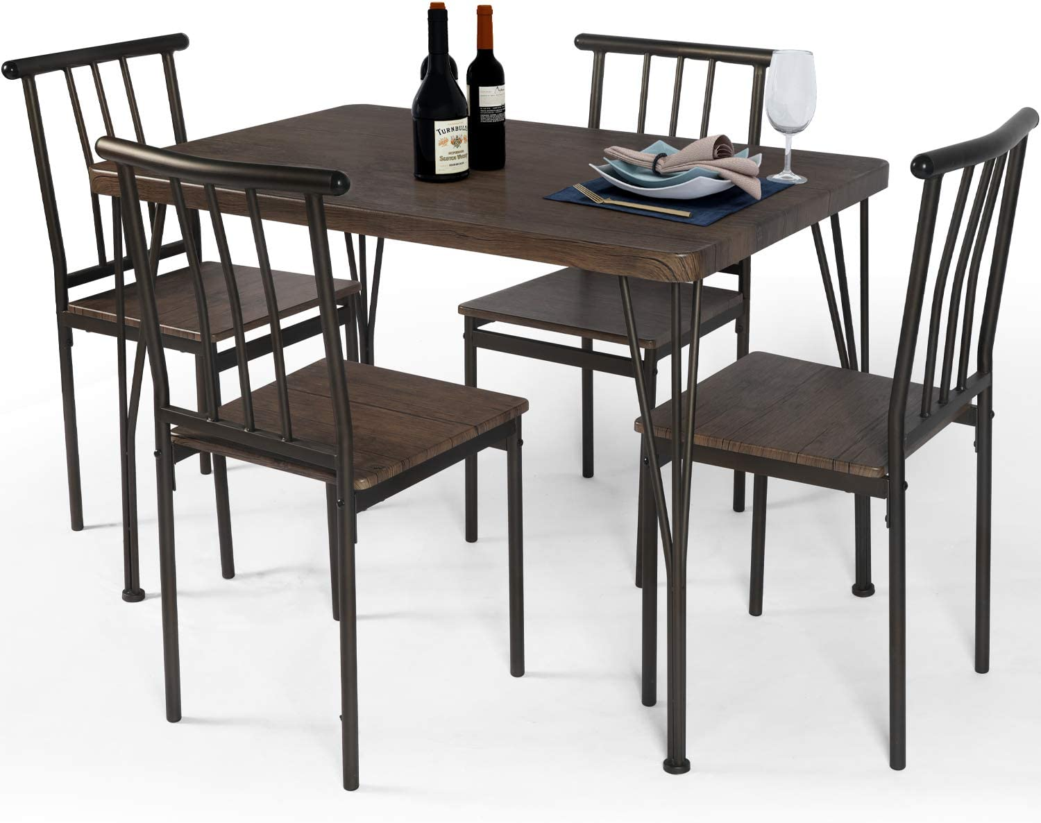 LAZZO 5 Piece Dining Table Selling rankings Set with Wooden Kitchen Max 58% OFF Me