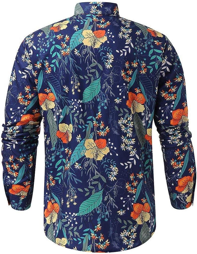 waotier Camisas Casual Hombre Camisetas de Manga Larga Causal Manga Larga Camisa Hawaiana con Estampado de Flores Camisa Botón Slim Fit Blusa Top
