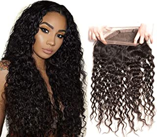 Brazilian Water Wave 360 Closure Lace Frontal With Baby Hair Pre Plucked Bleached Knot Swiss Lace Top Wet And Wavy Sew In Unprocessed Remy Virgin Human Hair 18 Inch