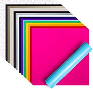 """$23 » Sponsored Ad - Permanent Adhesive Vinyl Sheets 12"""" x 12"""" , 50 Sheets - 15 Assorted Colors (3 Sheets Each) and 5 Sheets Tra..."""