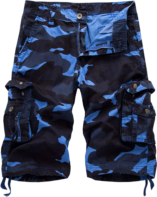 Wantess Men's Camouflage Cargo Shorts Fashion Stitching Pockets Comfortable Breathable