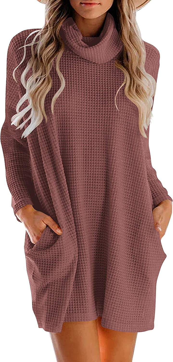 WONETA Women's Turtleneck Long Sleeve Sweater Dress Oversized Loose Knitted Sweater Dress with Pocket Pullover Tops