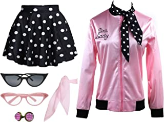 Vintage 1950s Pink Jacket Women Halloween Costume Outfit Costume Set