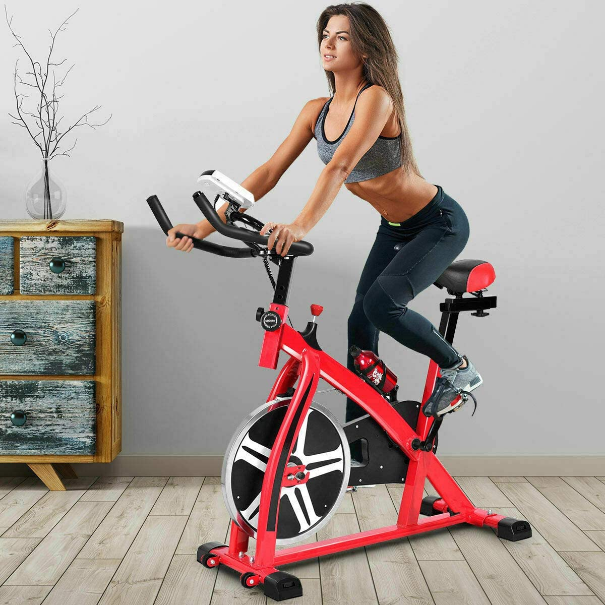 Home Fit Exercise Bike Fitness Cycling Stationary Bicycle Cardio Workout w//LCD