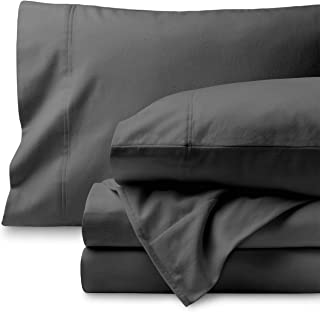 Bare Home Flannel Sheet Set 100% Cotton, Velvety Soft Heavyweight - Double Brushed Flannel - Deep Pocket (Queen, Grey)