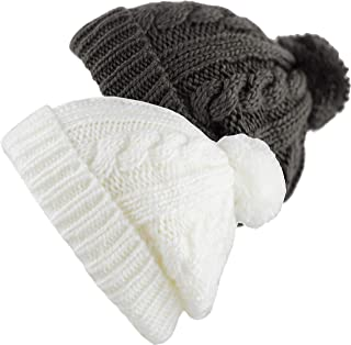b68f3584bd16e THE HAT DEPOT Winter Oversized Cable Knitted Pom Pom Beanie Hat Fleece  Lining Hat