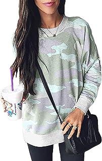 Ecrocoo Womens Casual Camo Print Long Sleeve Loose Fit Pullover Sweatshirt Tops