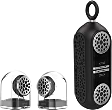 KNZ GoDuo Portable Bluetooth Speakers with Magnetic Connectable Base, L/R True Stereo Sound and Bass, Water and Shock Resistant, 18 hr playtime, Built-in Mic, Protective Carrying Case Included (Black)