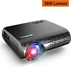WiMiUS Upgrade 5800 Lumens LED Projector Native 1920x1080 Video Projector Support 4K Dolby Netflix 300'' Display, with 4D ±50°X & Y Keystone Correction, Zoom Function for Movies and PPT Presentation