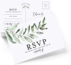 Bliss Collections RSVP Postcards for Wedding, Rustic Greenery Response Cards, Reply Cards Perfect for Bridal Shower, Rehearsal Dinner, Engagement Party, Baby Shower or any Special Occasion, 50 Pack