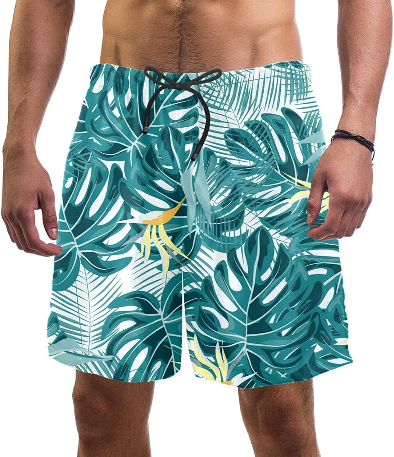 Max 75% OFF specialty shop Wanlipous Tropical Plant Pattern Men's Beach Sw Quick Shorts Dry