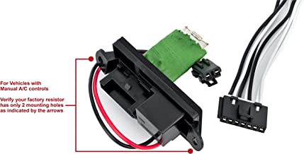 HVAC Blower Motor Fan Resistor Kit and Harness for Manual AC Controls- Replaces 22807122, 15305077, 973-409 - Fits Cadillac Escalade, Chevy Avalanche, Silverado, Tahoe, GMC Sierra, Yukon, XL 1999-2007