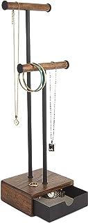 Umbra Pillar Jewelry Stand/Jewelry Organizer Walnut and Black Metal Jewelry Stand With Drawer