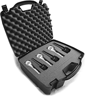 Casematix Cardioid Dynamic and Vocal Microphone Hard Case with Dense Internal Customizable Foam Fits 6 Shure microphones SM58 , SM57 , Beta 58A , PG48 , PGA58 and More