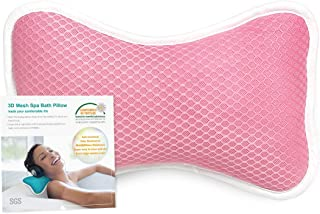 Coastacloud Bath Pillow with Suction Cups, Supports Neck and Shoulders for Home Spa, Bathtub, Hot Tub, Relaxing, Luxurious Neck Pillow - Pink